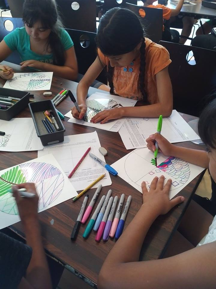 Children working on their art projects at Third Street Community Center