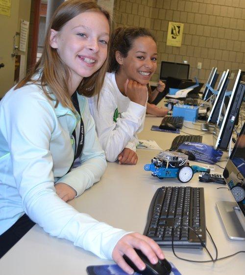 Girls working at keyboards