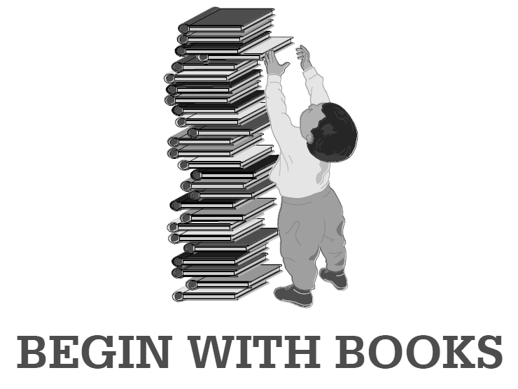 BEGIN WITH BOOKS logo in grayscale