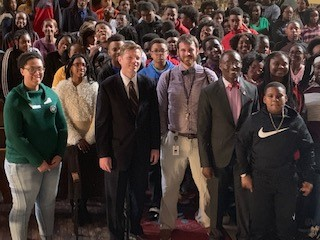 In-school YouthServe Birmingham program with 8th graders in a Birmingham City School (was a town-hall forum with elected leaders to explore use of land adjacent to their school