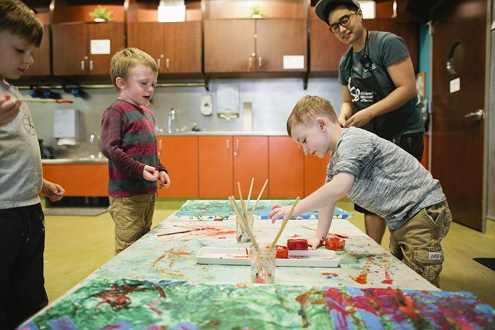 Child participants create in Beck's Studio at Children's Museum of Tacoma
