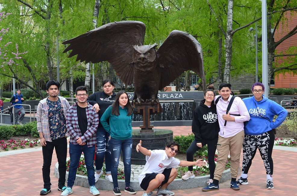 The Garage Community & Youth Center in front of Owl statue