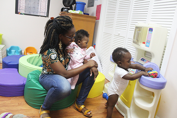 homeless babies play at a Playtime Project playroom