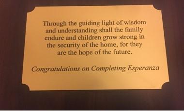 Esperanza graduation plaque