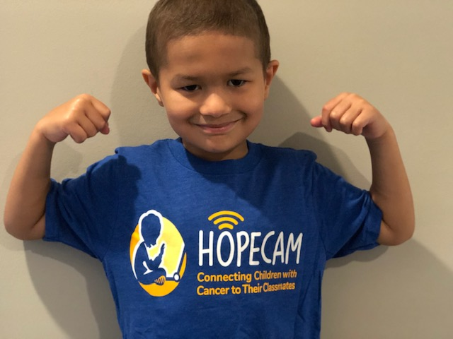 pediatric cancer patient shows fighting spirit thanks to Hopecam