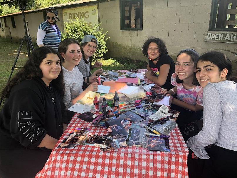 Batya Girls making scrapbooks