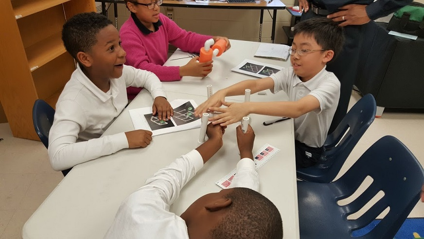 M. Agnes Jones Elementary excited about building their first underwater robot practice 2_18